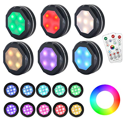 Puck Lights Battery Operated Under Cabinet Lighting,Gana 6 Pack Color Changing Puck Lights Under Cabinet Lighting Battery Powered Lights,Puck Lights with Remote,16 Colors and 4 Models Battery Lights