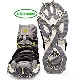 Crampons Shoes,Anti-Slip Traction Ice Cleats Snow Grips 19 Spikes Stainless Steel Walking,Jogging,Climbing,Hiking LYSHION