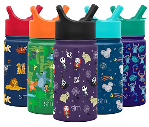 Simple Modern 14oz Disney Summit Kids Water Bottles with Straw Lid Sippy Cup – Dishwasher Safe Vacuum Insulated Tumbler Double Wall Travel 18/8 Stainless Steel Flask Disney: Nightmare Before Christmas