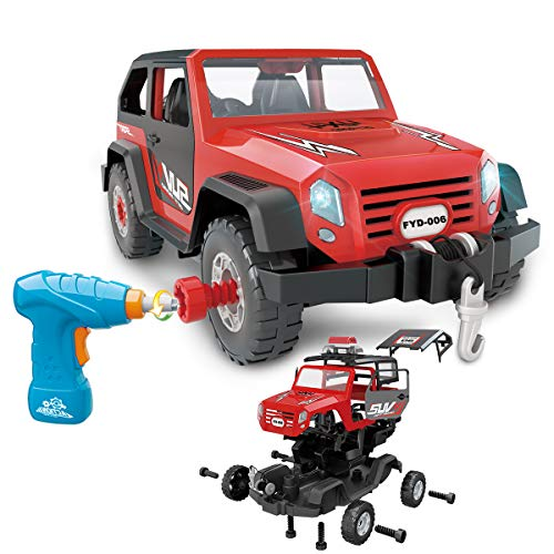 FYD Take Apart Toy Car 35 Pieces Set, DIY Assembly Car Toy Construction Kit Realistic Lights & Sounds with Electric Toy Drill for Boys and Girls Kids Ages 3+ Gift (Red) (Build A Toy Car)