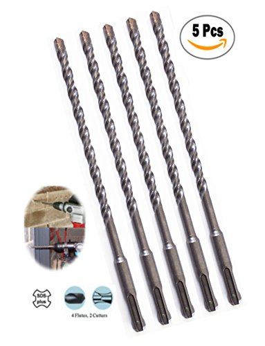 Max-Craft 5/16 Inch 5 Pcs SDS Plus Rotary Hammer Drill Bit Carbide Tipped Masonry Concrete Drills 8 Inch Overall Length With Plus Shank Drilling Concrete, Masonry, Wall, Road.(5/16 x 8 Inch)