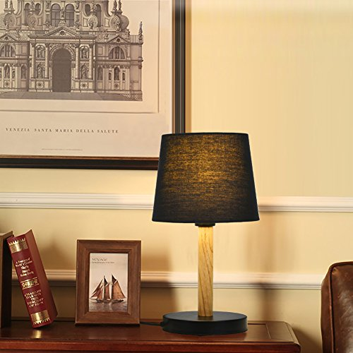 Viugreum Table Lamp, Simple Solid Wood Lamp, Mini Bedside Led Table Lamp, Cone Lampshade Led Wooden Desk Lamp, for Bedroom Living Room Coffee Table - Black (Bulb included)