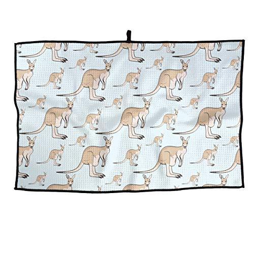 Jadetian Soft Microfiber Sports Golf Towel Kangaroo Pattern