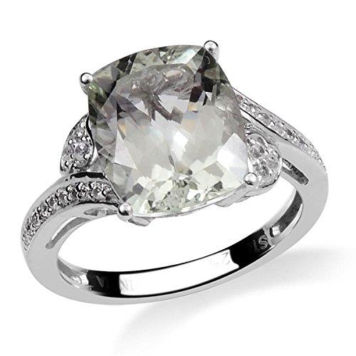 Green Amethyst, Zircon Platinum Plated Silver Solitaire Ring 1.991 cttw. Size 7 Green Amethyst Platinum Ring