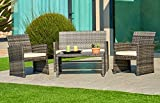 Suncrown Outdoor Furniture Grey Wicker Conversation Set with Glass Top Table (4-Piece Set)...