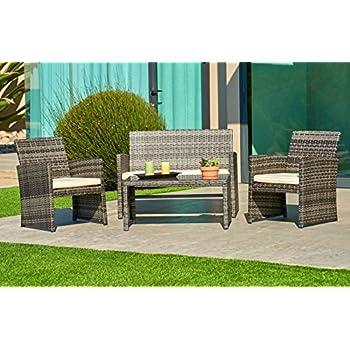 Suncrown Outdoor Furniture Grey Wicker Conversation Set with Glass Top  Table  4 Piece Set. Amazon com   Merax 4 PC Outdoor Garden Rattan Patio Furniture Set