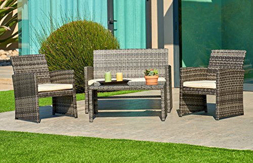 SUNCROWN Outdoor Patio Furniture All-Weather Wicker 4-Piece Conversation Set with Glass Top Table, Thick Cushions with Washable Covers, Grey - CHARMING CONVERSATION SET - Great for small spaces or creating a cozy nook, this outdoor wicker furniture set comes with two chairs, a love-seat, and a tempered glass top table. GORGEOUS GLASS TABLE TOP - Each perfectly-sized drink table features a tempered glass top that's equally gorgeous and durable for long-lasting outdoor use. WEATHER-RESISTANT RESIN - Designed specifically for indoor or outdoor use, this wicker conversation set is strong enough to withstand the rain, sun, and wind. - patio-furniture, patio, conversation-sets - 51vN6 wiHfL -