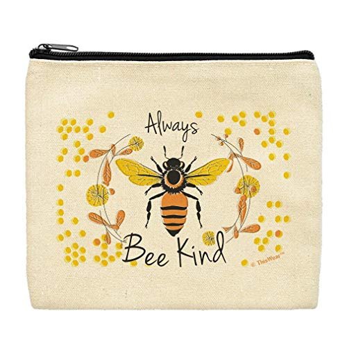 Cute Canvas Makeup Bag Always Bee Kind Bag Bee Makeup Bag Pencil Bag Travel Gifts Zip Makeup Bag