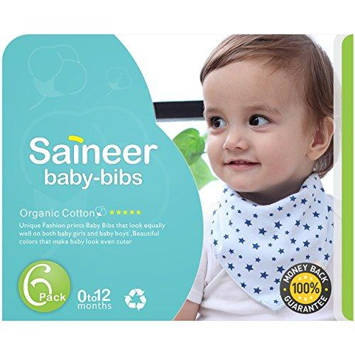 Baby Bandana Drool Bibs, Unisex 6-Pack Bandana Bibs Set,Waterproof Bib100% Organic Soft Cotton,Waterproof Layer,for Boys & Girls