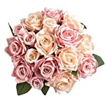 Aonewoe-Artificial-Flowers-Silk-Rose-Bridal-Bouquet-Flowers-Artificial-Flower-Arrangements-for-Home-Decoration-Party-WeddingChampagne-PinkNo-Vase