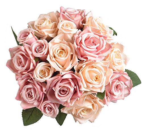 Furnily Artificial Flowers Silk Rose Bridal Bouquet Flowers Artificial Flower Arrangements for Home Decoration Party Wedding(Champagne Pink,No Vase) (Silk Rose Bridal Bouquet)