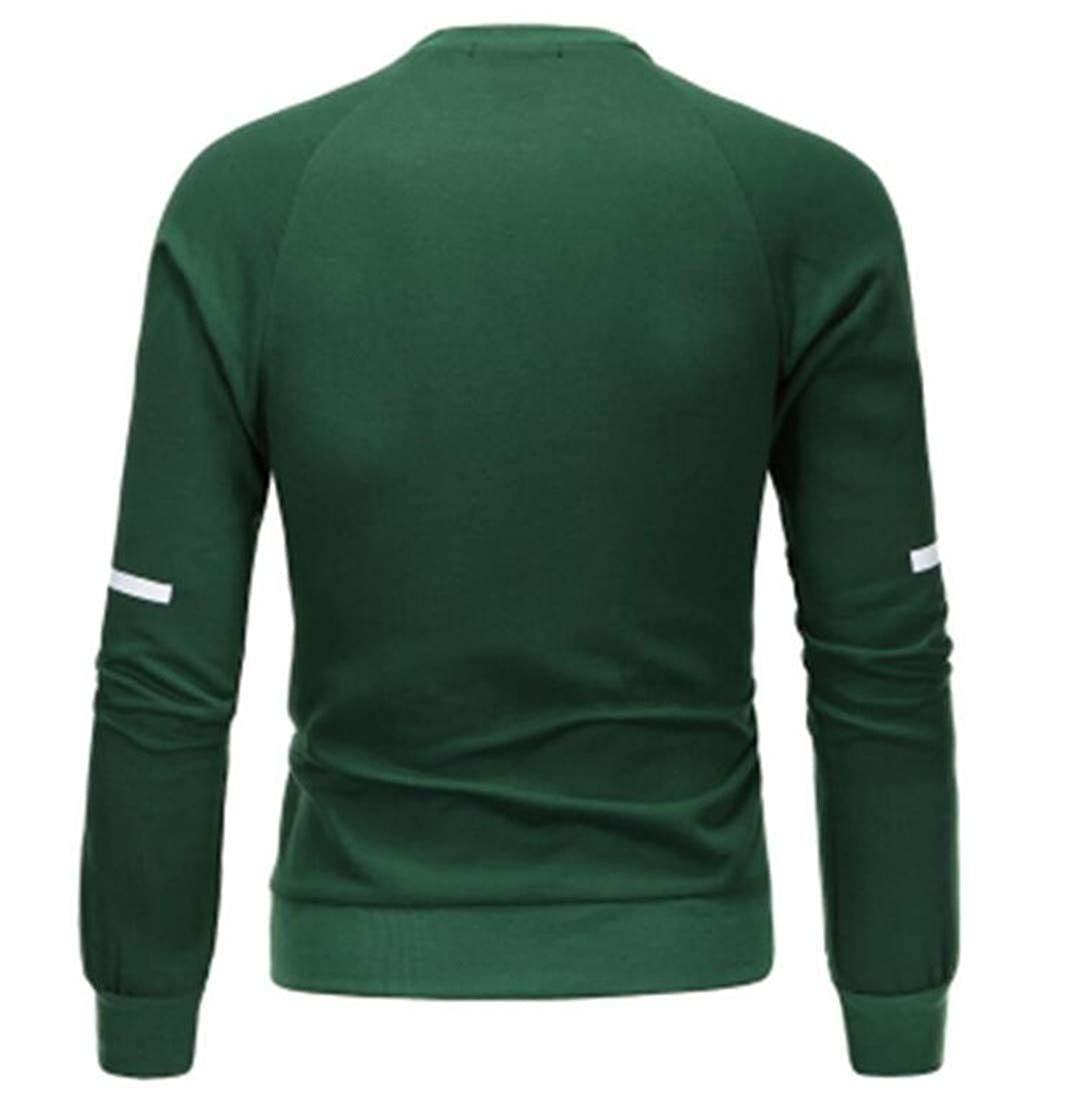 Domple Mens Pu Patchwork Long Sleeve Round Neck Stylish Pullover Sweatshirt