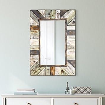 American Art Decor Farmhouse Rustic Wood Plank Rectangular Wall Vanity Accent Mirror 39.5 H x 27.5 W x 1.5 D