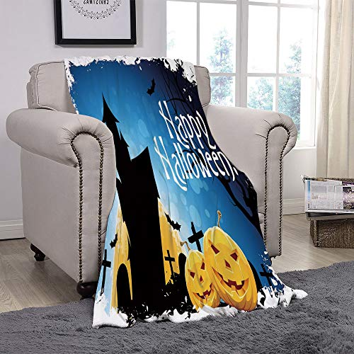 (YOLIYANA Light Weight Fleece Throw Blanket/Halloween,Gothic Ancient Castle Moon Cruciform Graveyard Tree Silhouette Abstract,Blue Black Yellow/for Couch Bed Sofa for Adults Teen Girls)