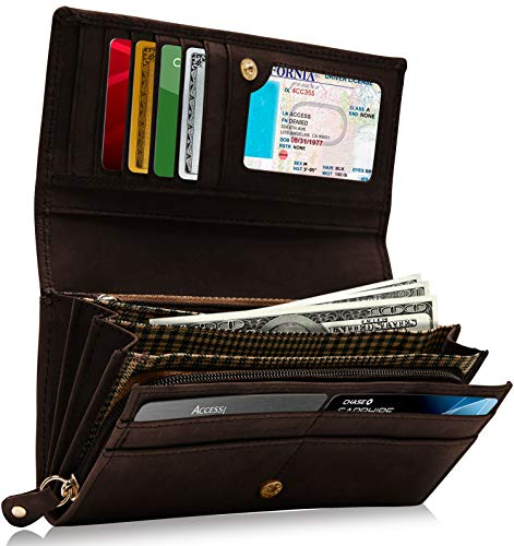 - Leather Clutch Organizer Wallets For Women - Suede Womens Wallet Floral Print Organizer With Gifts Box For Her RFID Blocking