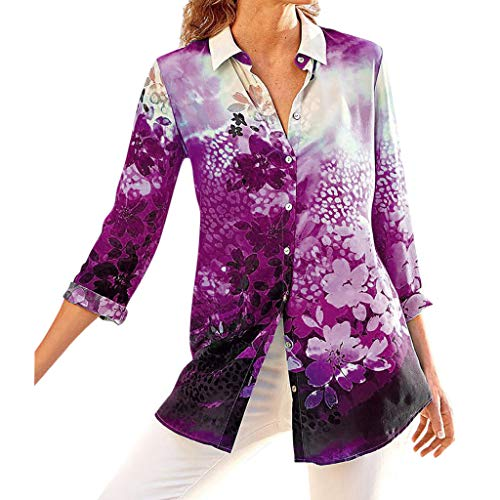 - Summer Tops for Women 2019 Prime Tronet Women's Ladies Sexy Rendering Print Stand Long Sleeve Button Pullover Shirt Tops