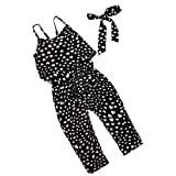 Kids Tales Hot Summer Little Baby Girls Love Heart Straps Jumpsuits 2Pcs, Black, 2