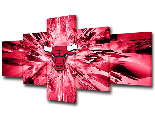 Chicago Bulls Pictures Native American Professional Basketball Team Paintings 5 Piece Canvas Wall Art Modern Artwork Home Decor for Living Room Framed Gallery-wrapped Ready to Hang(50''Wx24''H)
