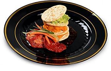 Paquete de 15 elegantes platos de plástico duro para ensalada, platos de plástico para servir