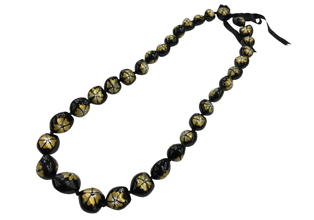 DK Hawaiian Collections Style Kukui Nut Lei Hibiscus Flower Hand Painted 33 Nuts Necklace (Gold)