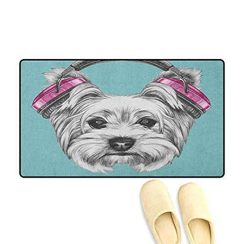 zojihouse Yorkie Customize Door mats for Home Dog with Headphones Music Listening Yorkshire Terrier Hand Drawn Caricature Size:24