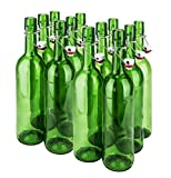 SafePro 10026, 1L / 33-ounce Green Glass Wine Bottle with Stopper, Vintage Style Bottle for Home Brewing, Beer Milk Water Oil Vinegar Glass Bottle with Swing Top (12)