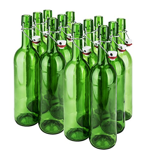 SafePro 10026, 1L/33-ounce Green Glass Wine Bottle with Stopper, Vintage Style Bottle for Home Brewing, Beer Milk Water Oil Vinegar Glass Bottle with Swing Top (Flip Top Wine)