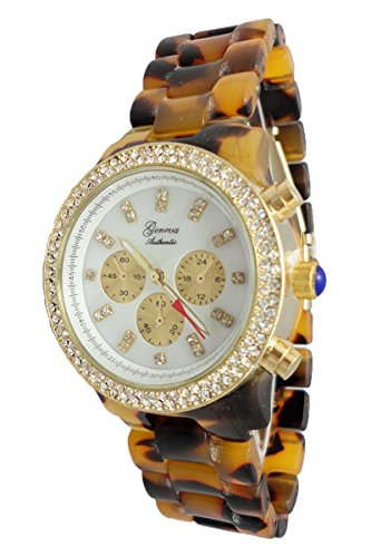 Geneva Authentic Tortoise Shell Chronograph Look Mother of Pearl Dial Women's Watch L1075FS