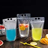 ShoppyStar 50pcs/lot New Plastic Drink Packaging Bag Pouch for Beverage Juice Milk Coffee with Handle and Holes for Straw 400ml 500ml: 0.5L, Frosted 02