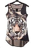Tiger Leopard Print Splicing Personality Chiffon Vest Size S Black