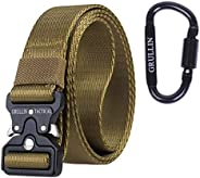 GRULLIN Tactical Nylon Belt, Military Style Webbing Heavy Duty Riggers Belt for Men with Quick-Release Metal B