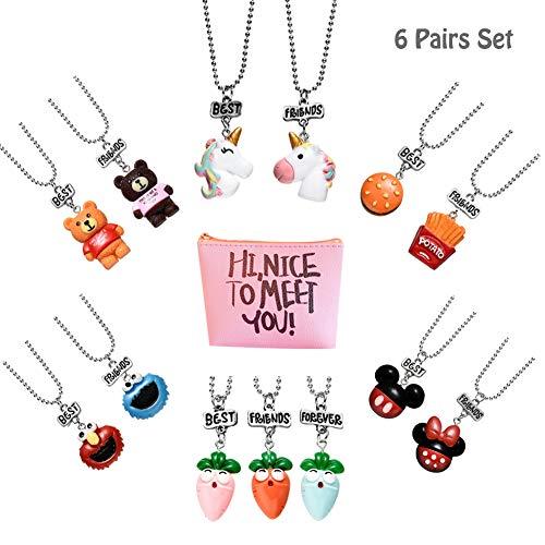 Pibupibu 2 Packs Best Friends Kids Children Resin Pendant Necklace (6 Packs Mix)