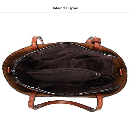 Bolso gran Diseñador cuero bandoleras mujer monederos de Bolsos Bolsos capacidad Green marrón Crossbody bolsa de dama con De de Bolsas rwCYxfgrq