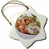 3dRose orn_85054_1 Cuisine, Poisson Cru, Les Tipaniers Hotel, Moorea-OC13 DPB0152-Douglas Peebles-Snowflake Ornament, Porcelain, 3''