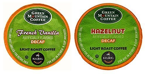 Green Mountain FRENCH VANILLA DECAF & HAZELNUT DECAF Flavored Contrast Pack 48 K-Cups for Keurig Brewers