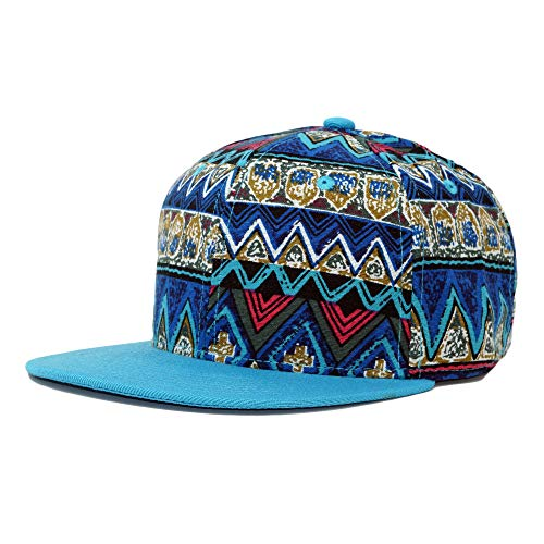 - Ahava Supply Co. Pattern Printed Solid Flat Bill Snapback Hat Adjustable Colorful Baseball Cap (Tribal Pattern- Blue)