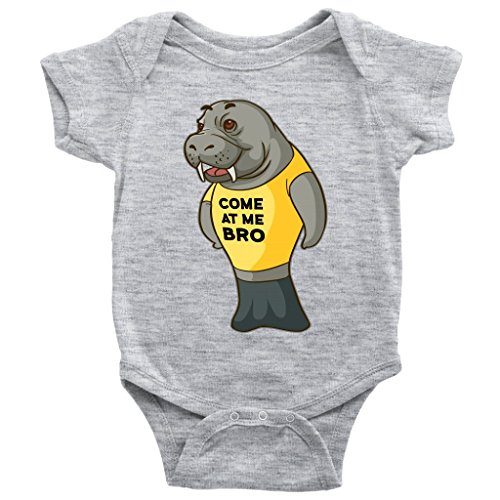 Weezag Manatee Come At Me Bro Commercial Novelty Romper Bodysuit For Baby Boy Baby Girl (Heather Grey, 6M)