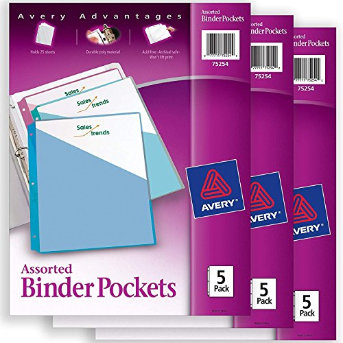 Binders Ring 3 Avery (Avery Binder Pockets, Assorted Colors, 8.5