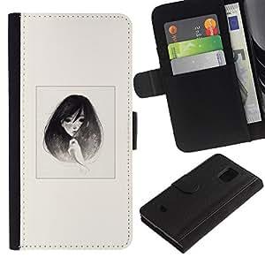 Protector de cuero de la PU de la cubierta del estilo de la carpeta del tirón BY RAYDREAMMM - Samsung Galaxy S5 Mini, SM-G800 - Emo B & W retrato de la muchacha