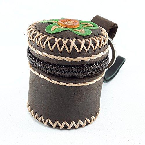 Dark Brown Leather Coin Purse Zipper Bag Handles Hook Ring Small Box Shape Handmade Embroidered Flower Thai - Around Folio Agenda Zip