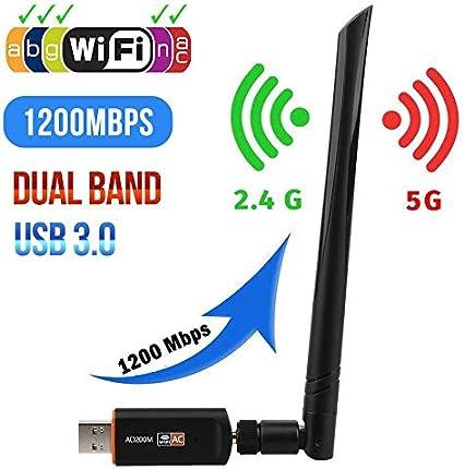 Amazon.com: Adaptador USB 3.0 1200 Mbps WiFi de doble banda ...