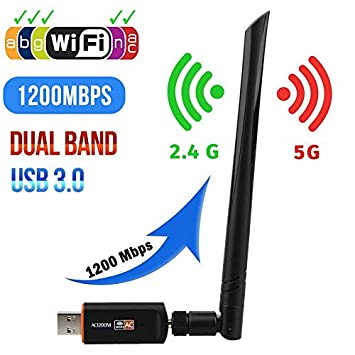 Adaptador WiFi USB 3.0 1200 Mbps Banda Dual 5 GHz 2.4 GHz ...