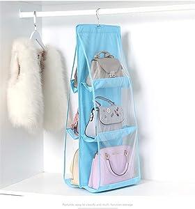 Sant fe 6 Pocket Foldable Hanging Bag 3 Layers Folding Shelf Bag Purse Handbag Organizer Door Sundry Pocket Hanger Storage Closet Hanger (SkyBlue)
