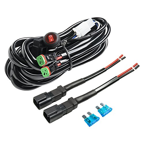 Wiring Harness, Eyourlife Heavy Duty Deutsch DT Connectors Wiring Harness Kit for Led Light Bar 180W 12V 20A Waterproof Fuse Relay On/Off Rocker Switch 16AWG 12FT (2 Leads)