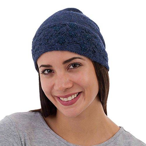 b044480ff10 Amazon.com  NOVICA Blue Embroidered 100% Alpaca Wool Hat