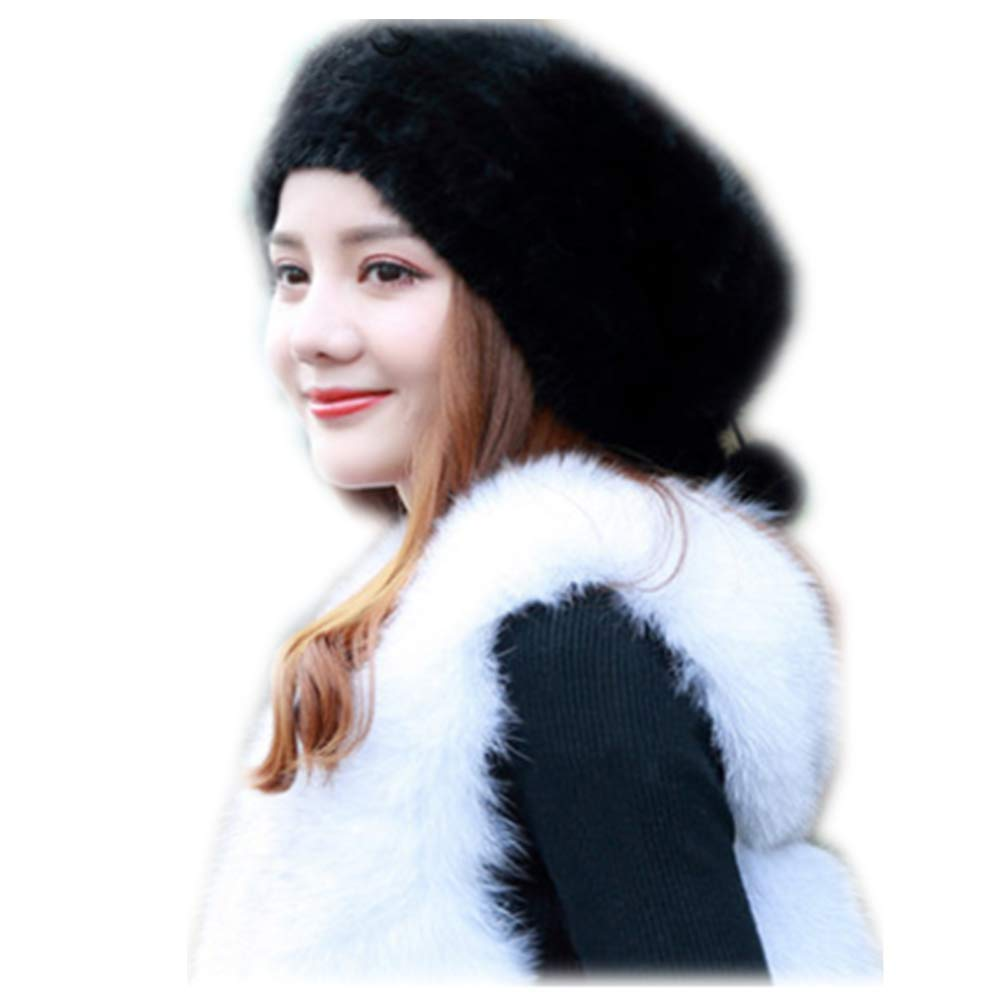 MH Bailment Genuine Mink Fur Knitted Hat Slouchy Beanie Cap for Women Bucket Cap (One Size, Black)