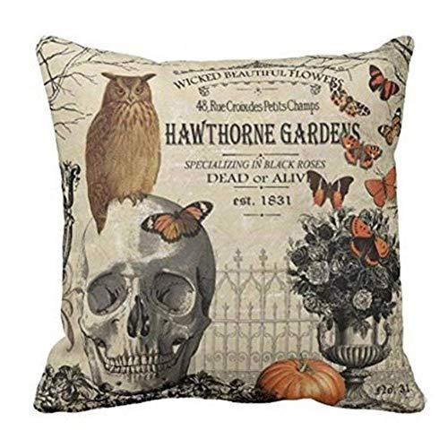 Royalours Throw Pillow Covers Halloween Garden Cotton Linen Vintage Halloween Pumpkin Crow and Owl Decorative Pillow Case Cushion Cover Pillowslip 18