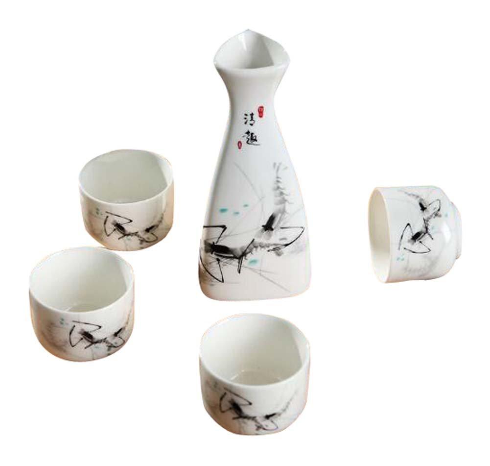 Set Of 5 Household Use/Restaurant Sake Cups Ceramic Wine Sets-Simple