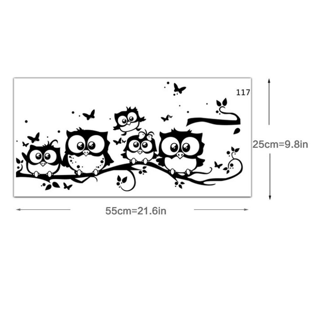 Vinyle enfants Art de bande dessin/ée de hibou D/écor papillon Accueil Decal Yogogo Autocollant mural