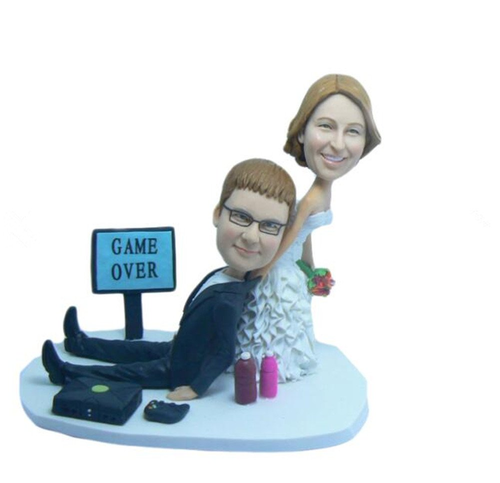 Create Your Own Game Over Wedding Bobble head Polymer Clay Bobbleheads Cake Toppers by MiniBobbleheads